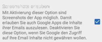 Android: Screenshot kann nicht aufgenommen werden