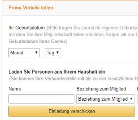 Amazon Prime Teilen