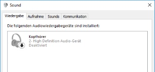 Windows 10 deaktivierten Kopfhörer aktivieren