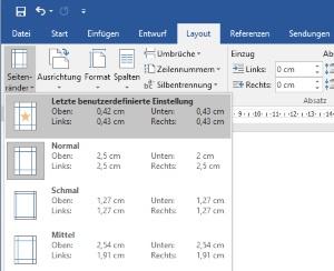 Word verschiedene Seitenränder in einem Dokument einrichten